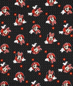 Springs Creative Disney Minnie Mouse With Flowers & Polka Dots Fabric - $7.7 | onlinefabricstore.net