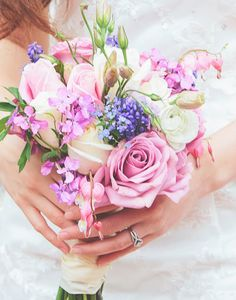 Wedding flowers*Bridal bouquet pastel blue pink lavender white ***Photographer Keala Jarvis