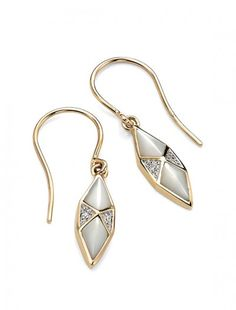 9ct Mother of Pearl & Diamond Earrings - Available at Onyx Goldsmiths