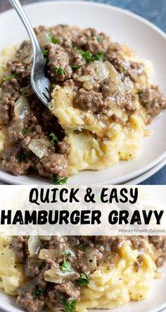 Hamburger Gravy Recipe, Hamburger Dishes, Beef Dishes, Food Dishes, Easy Hamburger Meals, Easy Gravy Recipe, Main Dishes, Hamburger Dinner Ideas, Ground Beef Recipes For Dinner