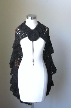 BLACK SHAWL Brown CROCHET Wrap Capelet  Fashion by marianavail, $85.00