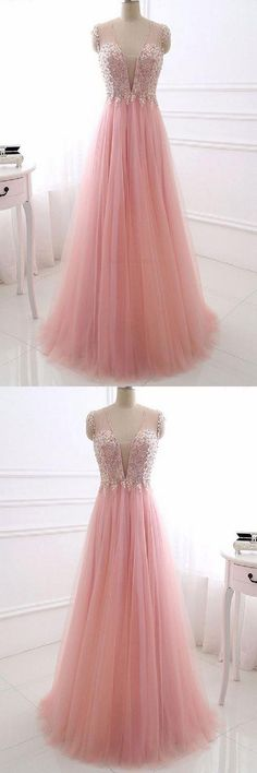 Hot Sale Trendy Prom Dresses Long, V Neck Prom Dresses, Pink Prom Dresses Prom Dresses Long Pink, Gorgeous Prom Dresses, Lace Homecoming Dresses, V Neck Prom Dresses, Unique Prom Dresses, Tulle Prom Dress, Dress Long, Wedding Dress, Pink Evening Dress