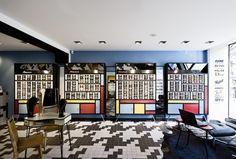 Marc Ifrah viste de Piet Mondrian la óptica La Fabrique de Lunettes en París. - diariodesign.com