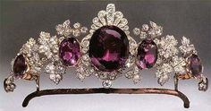 1870. Marquess of Tavistock Amethyst Tiara in the form of vine leaves