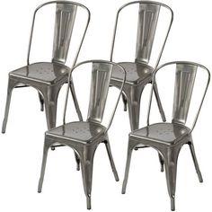 Lemoderno Galvanized Steel Side Chair 4 Gun Metal