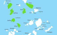 #Karte eines Teils der #Kykladen #Inseln, #Griechenland Mykonos, Santorini, Greece, Vacation