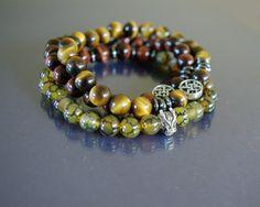 Dragon veins & Tiger eye bracelet Set of 3 Men by EmpathyGifts, €44.90