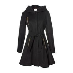 Laundry Womens Belted Fit And Flare Wool Coat With Hood L Black ** See this great product.