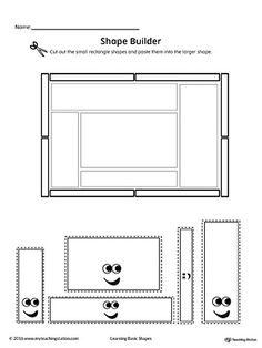 Geometric Shape Builder Worksheet: Rectangle Worksheet.Cut out the Rectangle shapes and paste them into the larger shape in this printable worksheet. Perfect for preschool children to practice recognizing shapes.