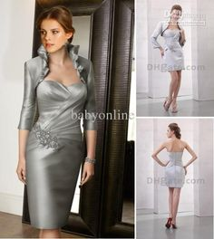 Wholesale 2012 Sexy Mini Short Strapless Free Jacket only 99 Zipper Silver Mother of the Bride Dress DH00079, Free shipping, $85.02-99.12/Piece | DHgate