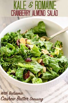 This Kale and Romaine Cranberry Almond Salad is super simple to put together and tossed with the most delicious, homemade balsamic cashew butter dressing. Vegetarian Salad Recipes, Salad Recipes For Dinner, Healthy Salads, Healthy Eating, Quick Recipes, Healthy Recipes, Free Recipes, Paleo Meals, Romaine Salad
