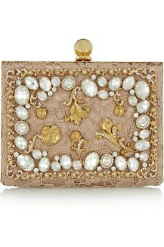Dolce & Gabbana | Ava crystal-embellished satin and lace box clutch | NET-A-PORTER.COM