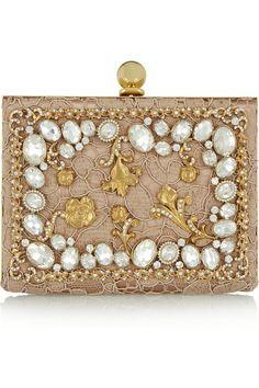 Dolce & Gabbana|Ava crystal-embellished satin and lace box clutch|NET-A-PORTER.COM