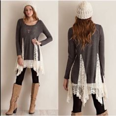 XX The FAITH lace tunic sweater - CHARCOAL A solid sweater tunic top featuring bottom lace detailing throughout. Semi- sheer. Long sleeves. Knit. Lightweight. 100%POLYESTER. PRICE FIRM, NO TRADE Bellanblue Tops Tees - Long Sleeve
