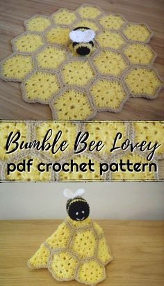 Crochet crafts 76490893657683869 - Little Bumble Bee Lovey Crochet Pattern. Cute little granny square hexagonal blanket pattern with adorable amigurumi bumble bee on top! Source by pricelesshandmadegifts Crochet Bee, Crochet Gratis, Cute Crochet, Crochet Motif, Crochet Yarn, Crochet Toys, Hexagon Crochet Pattern, Crochet Cushions, Crochet Lovey Free Pattern
