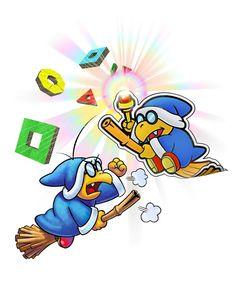 Kamek and Paper Kamek - Mario & Luigi: Paper Jam. Their bickering is very funny