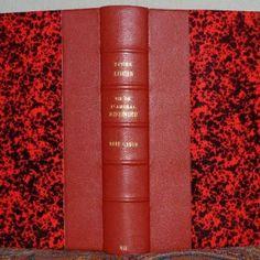 Reliure demi-cuir rouge avec papier Annonay. La vie de l'Amiral Rieunier. Série en 7 tomes