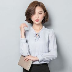 Women's Office Business Blouse Shirt Ladies OL Work T-Shirt Tops Autumn Formal Office Style, Office Fashion, Lady, Ol, Shirt Blouses, Tunic Tops, Autumn, Clothes For Women, Formal
