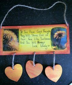 3 Hearts Plaque ... Sunshine Good Thoughts, Sunshine, Hearts, Drop Earrings, Face, Ideas, Nikko, Drop Earring, The Face