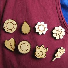 Pokemon gym badges: I'm totally making some of these for my cousin for Christmas!