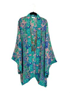 Silk Kimono jacket / robe, in a jade and turquoise rose pure silk crepe de chine floral print, different lengths available