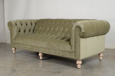 Our Chelsea Chesterfield in Cannes Lichen Velvet with Natural Unfinished legs. #chesterfieldsofa #velvetsofa