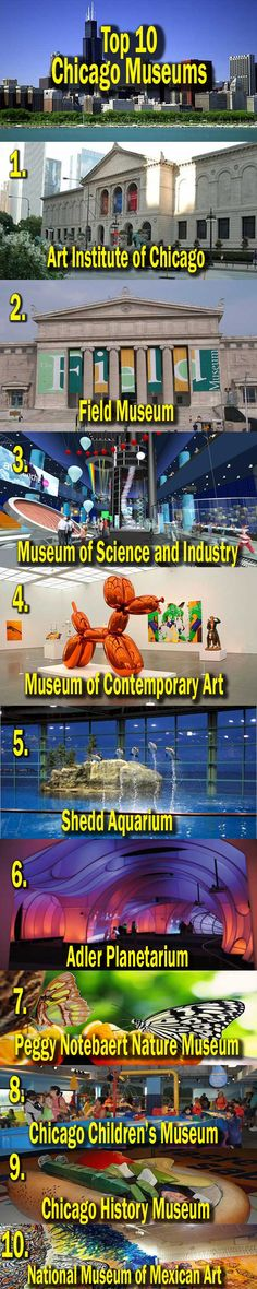 visual list of TOP 10 CHICAGO MUSEUMS -- I want to go to the science and industry museum and the planetarium! Chicago Vacation, Chicago Travel, Travel Usa, Chicago Trip, Oh The Places You'll Go, Places To Travel, Places To Visit, Vacation Trips, Vacation Spots