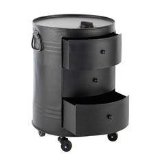 Beistelltisch CLARK in Ölfass-Optik aus Metall, B 42cm, schwarz