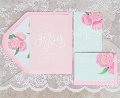 light pink flower wedding invites by http://www.berinmade.com/