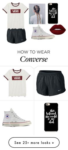 """""""She believed she could so she did"""" by tessajeane on Polyvore featuring NIKE, Vans, Converse and Lime Crime"""