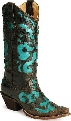 Corral Distressed Cowgirl Boots Black-Cognac Fancy Turquoise Floral Inlay.