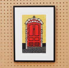 Stockholm, Sweden Linocut Print by BoardingAllRows