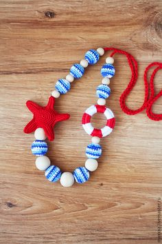 Crochet Nautical Sailor Teething Nursing necklace with Crochet Bunny, Crochet Art, Crochet For Kids, Crochet Toys, Mommy Necklace, Nursing Necklace, Breastfeeding Necklace, Pinterest Jewelry, Wood Bead Garland