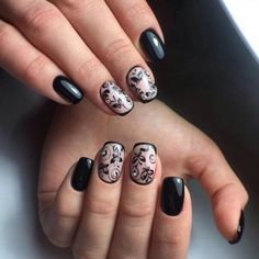 Black and beige nails, Exquisite nails, Fashion autumn nails, Luxurious nails, Luxury nails, Nails for a black evening dress, Nails with rhinestones ideas, Pattern nails