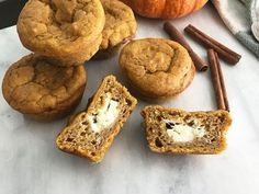 Spicy, creamy, sweet pumpkin cream cheese muffins are the perfect breakfast treat. Spice them up with chopped nuts, a streusel topping, or powdered sugar. Pumpkin Cheese Ball Recipe, Pumpkin Cream Cheese Muffins, Pumpkin Cream Cheeses, Cheese Ball Recipes, Layered Pumpkin Cheesecake, Pumpkin Mousse, Pumpkin Custard, Pumpkin Pudding, Pumpkin Breakfast