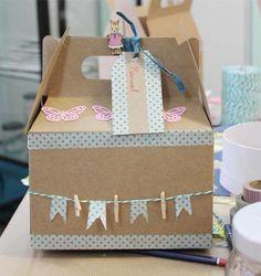 caja picnic Washi Tape Diy, Birthday Box, Party In A Box, Gable Boxes, Diy Box, Box Packaging, Homemade Gifts, Brunch, Diy For Kids
