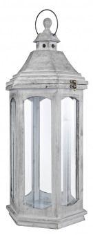 Holzlaterne Katmandu, grau, Höhe 65 cm - Diese Laterne aus Holz und Glas ist unser Klassiker. Eine wunderschöne Deko-Idee für Wohnzimmer, Balkon, Terrasse oder Garten. Für Stumpenkerzen oder LED-Licht