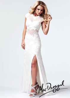 Mac Duggal 1903M - Ivory Beaded Lace Jersey Prom Dresses Online
