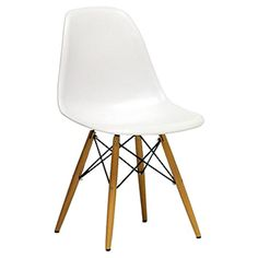 Perfect for adding a retro-inspired touch to the office or study, this understated side chair showcases a matte white seat, wood legs and black steel hardwar...