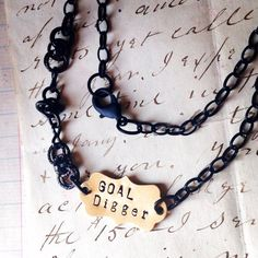 Items similar to Goal Digger Hand Stamped Inspirational Goal Setter Necklace by Kris Lanae on Etsy Goal Digger, Team Gifts, Fun Things, Hand Stamped, Inspirational, Goals, Creative, Handmade, Stuff To Buy