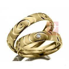 Cincin Kawin Curl Perak Lapis Rhodium Kuning - Cincin Kawin Jogja