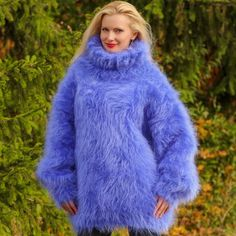 Blue Hand Knitted Mohair Sweater Fuzzy Thick Fluffy Pullover SUPERTANYA M L XL #SUPERTANYA #TurtleneckMock