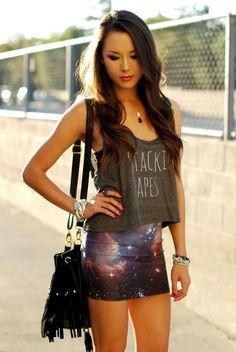 Her galaxy bodycon skirt