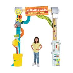 """With gears, tools and a sign that reads """"Assembly Area Building Believers"""", this archway is perfect for welcoming Vacation Bible School students. Bible School Snacks, Bible School Crafts, Gadgets And Gizmos Vbs, 2017 Gadgets, Kids Church Decor, Maker Fun Factory Vbs, Kids Sunday School Lessons, Vbs Themes, Robot Theme"""