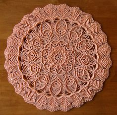 """from Leisure Arts """"Extra-Special Doilies"""" by Mary Werst Ilse-Wolle Optima 10 Crochet Cotton color: 31 Peach 12 inches using a size 7 (1.65mm) steel crochet hook"""