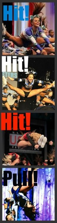 Hit Hit Hit Pull no hairspray can hold their hair in place while performing their hearts out Cheer Jumps, Cheer Stunts, Cheer Dance, All Star Cheer, Cheer Mom, Cheerleading Cheers, Cheerleading Hair, Cheer Quotes, Dance Moms Girls