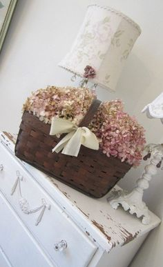 Vintage Basket  Dried Hydrangeas<3