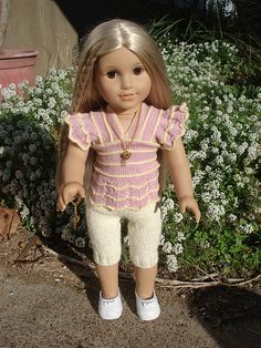 """Ravelry: Dana - top to fit 18"""" (46cm) & 6 1/2"""" (16cm) doll pattern by Angela Parker"""