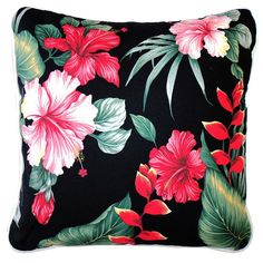 Oasis Cushions - Hanalei Black Fabric x - hardtofind. Tropical Beach Houses, Tropical Fabric, Colorful Pillows, Cushion Fabric, Black Fabric, Oasis, Printing On Fabric, Unique Gifts, Exotic