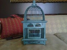 Shabby Chic Birdcage :  wedding birdcage black blue brown centerpiece ceremony diy engagement flowers gold green invitations ivory orange reception red shabby chic light blue turquoise white Birdcage
